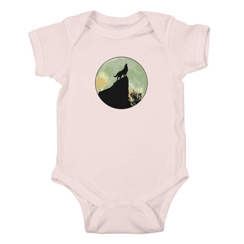 Wolf Howling Kids Baby Bodysuit by Kamonkey's Artist Shop