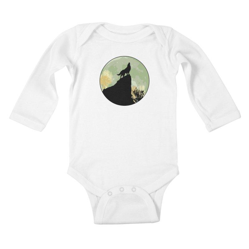 Wolf Howling Kids Baby Longsleeve Bodysuit by Kamonkey's Artist Shop