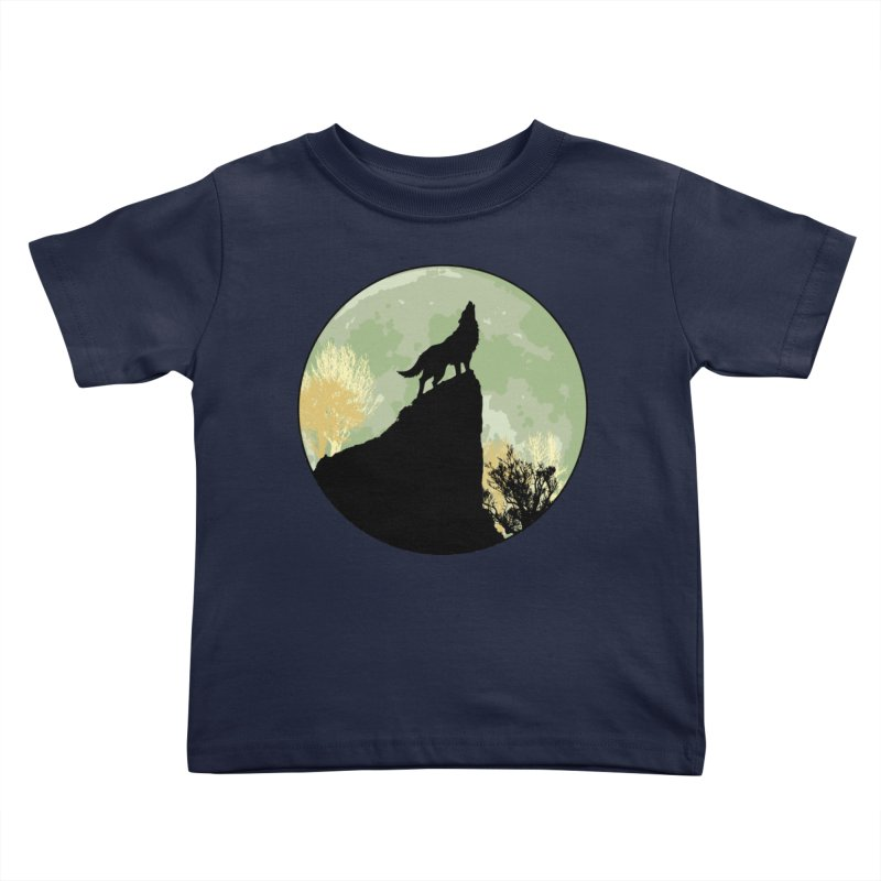 Wolf Howling Kids Toddler T-Shirt by Kamonkey's Artist Shop