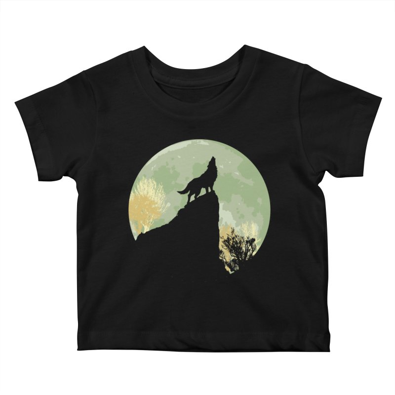Wolf Howling Kids Baby T-Shirt by Kamonkey's Artist Shop