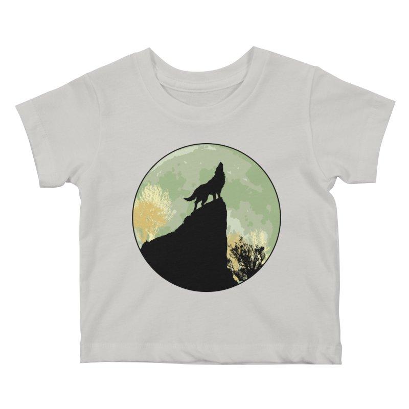 Wolf Howling Kids Baby T-Shirt by Kamonkey's Artist Shop