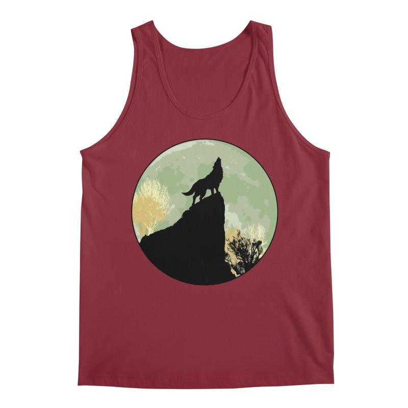 Wolf Howling Men's Regular Tank by Kamonkey's Artist Shop