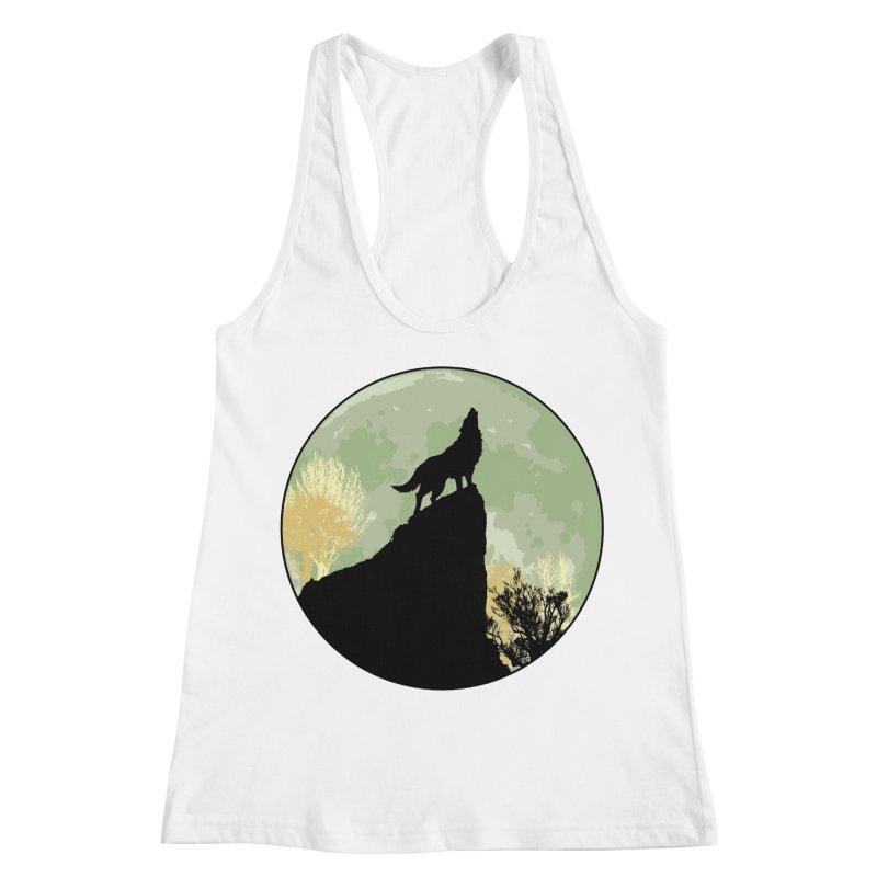 Wolf Howling Women's Racerback Tank by Kamonkey's Artist Shop