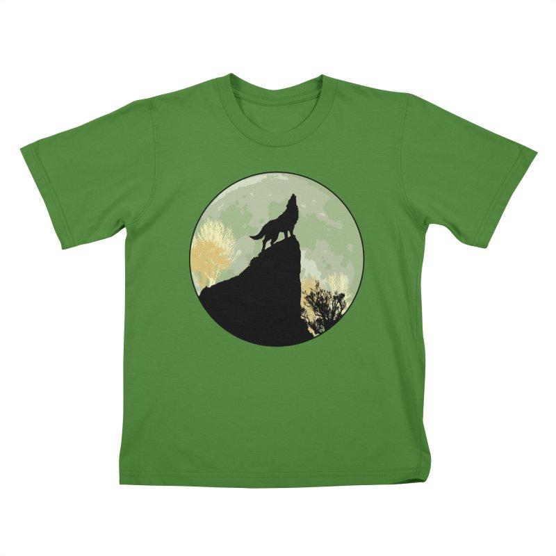 Wolf Howling Kids T-shirt by Kamonkey's Artist Shop