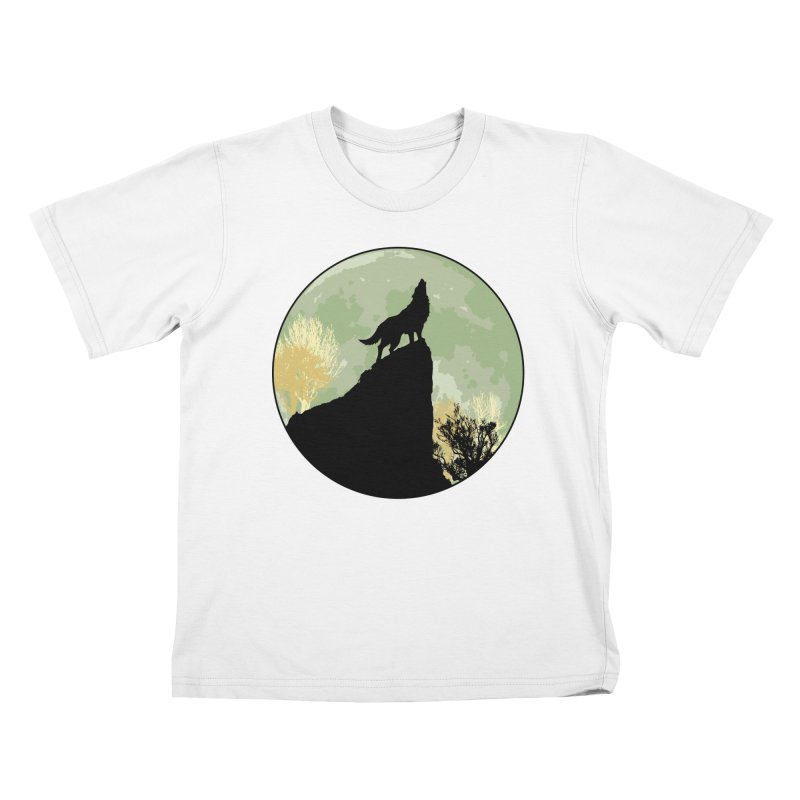 Wolf Howling Kids T-Shirt by Kamonkey's Artist Shop