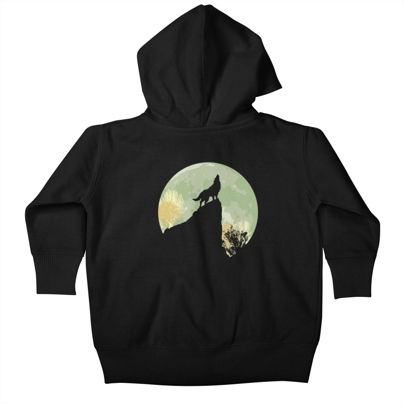 Wolf Howling Kids Baby Zip-Up Hoody by Kamonkey's Artist Shop