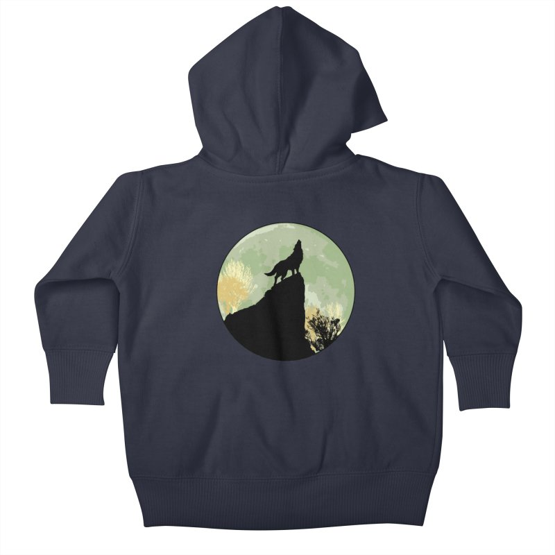Wolf Howling Kids Baby Zip-Up Hoody by Kamonkey's Artist Shop
