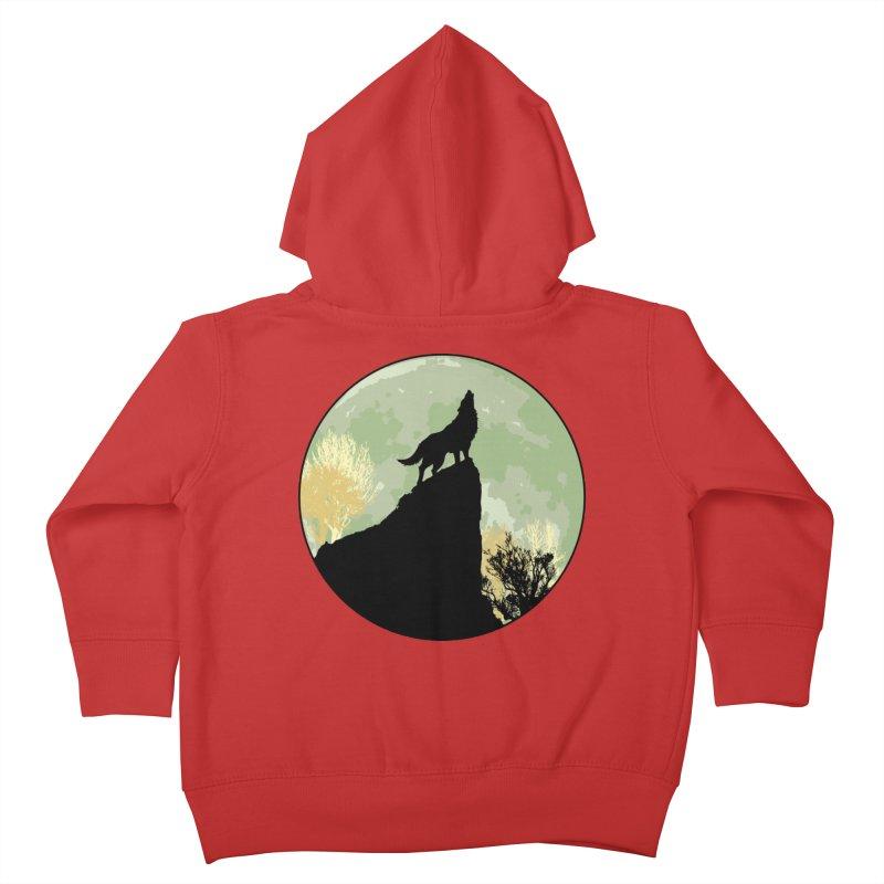 Wolf Howling Kids Toddler Zip-Up Hoody by Kamonkey's Artist Shop