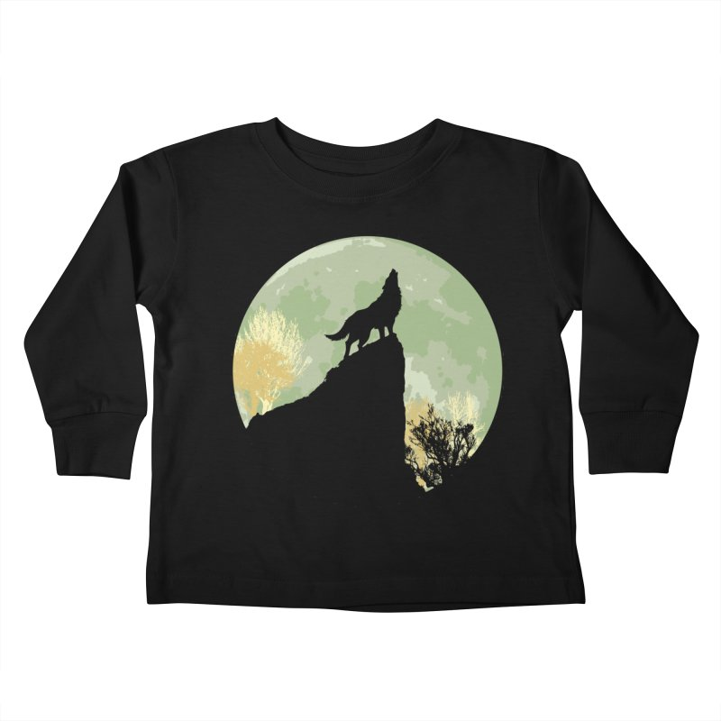 Wolf Howling Kids Toddler Longsleeve T-Shirt by Kamonkey's Artist Shop
