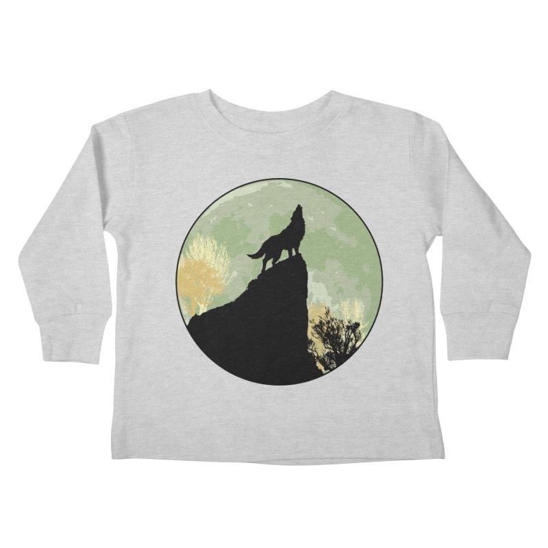 Wolf Howling Kids Toddler Longsleeve T-Shirt by Kamonkey's Artist Shop