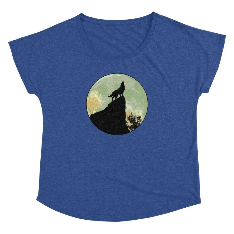 Wolf Howling Women's Dolman Scoop Neck by Kamonkey's Artist Shop