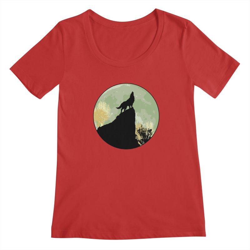 Wolf Howling Women's Regular Scoop Neck by Kamonkey's Artist Shop