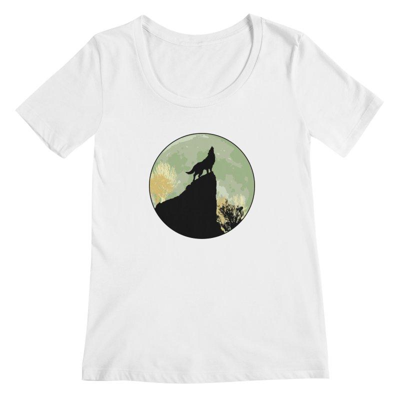 Wolf Howling Women's Scoopneck by Kamonkey's Artist Shop