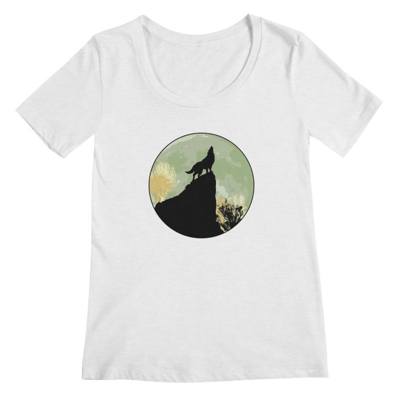 Wolf Howling Women's Regular Scoop Neck by Kamonkey's Artist Shop