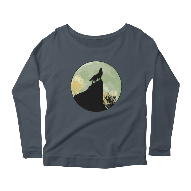 Wolf Howling Women's Scoop Neck Longsleeve T-Shirt by Kamonkey's Artist Shop