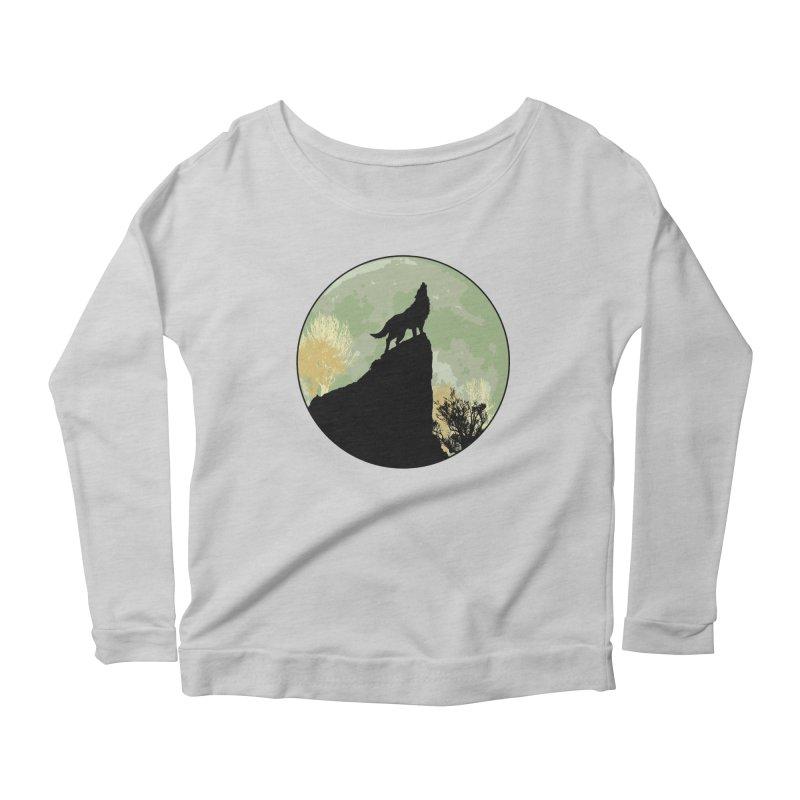 Wolf Howling Women's Scoop Neck Longsleeve T-Shirt by Kamonkey's Artist Shop