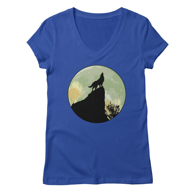 Wolf Howling Women's Regular V-Neck by Kamonkey's Artist Shop