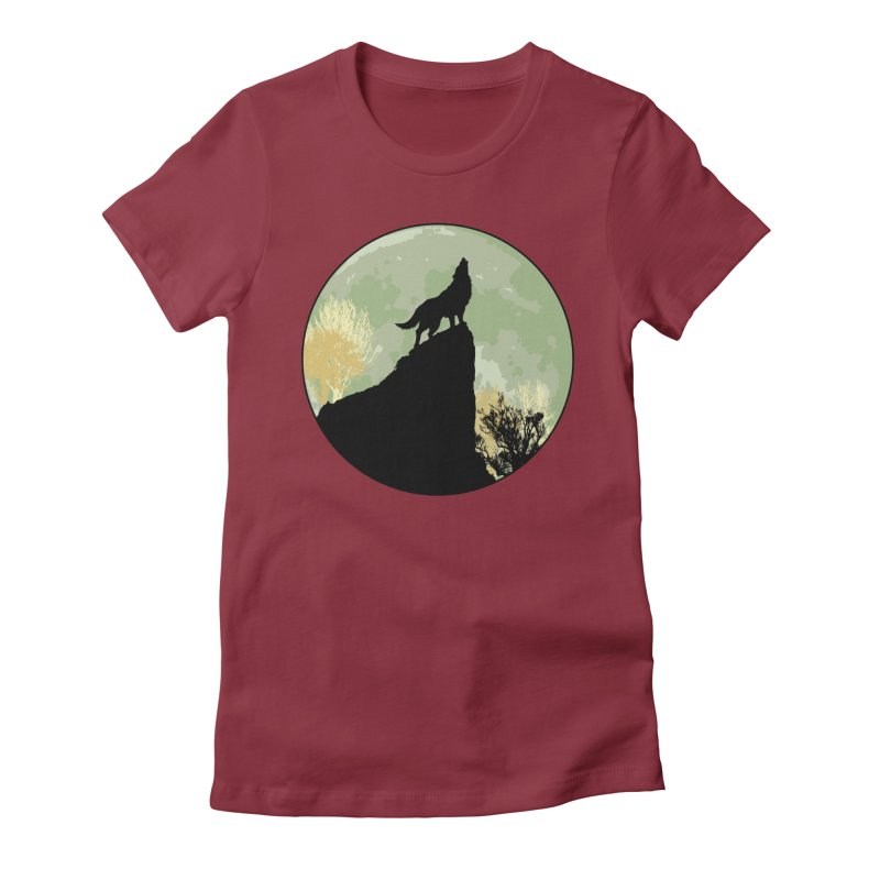 Wolf Howling Women's Fitted T-Shirt by Kamonkey's Artist Shop