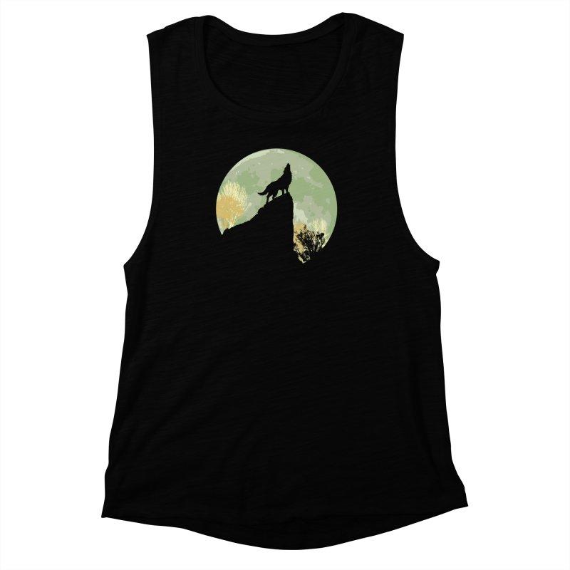 Wolf Howling Women's Muscle Tank by Kamonkey's Artist Shop