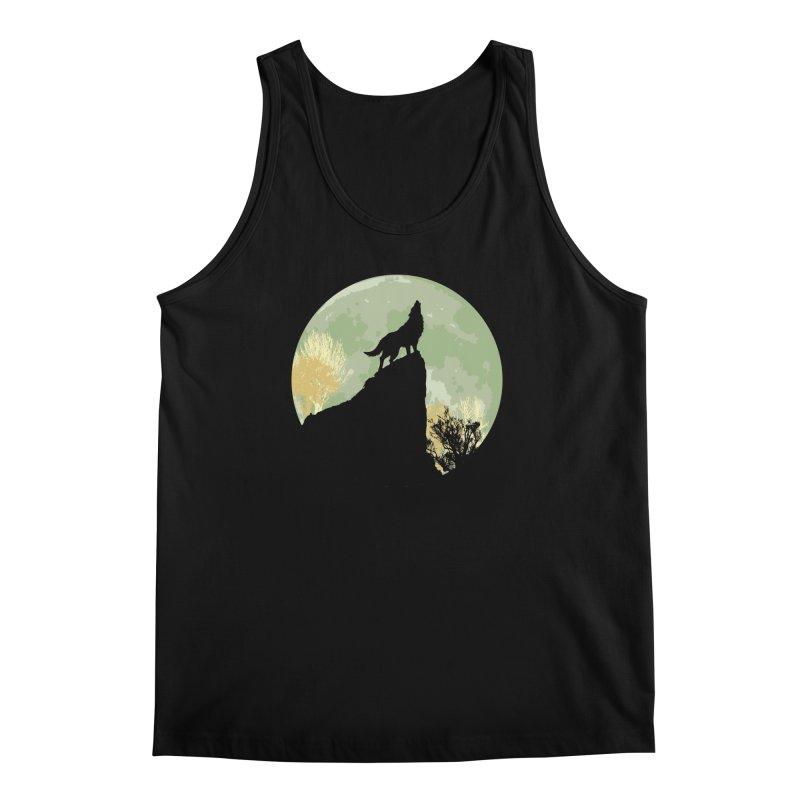 Wolf Howling Men's Tank by Kamonkey's Artist Shop