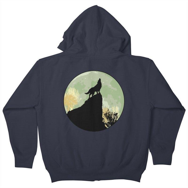 Wolf Howling Kids Zip-Up Hoody by Kamonkey's Artist Shop