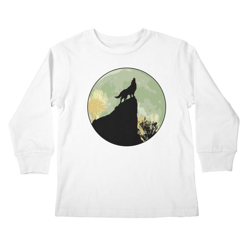 Wolf Howling Kids Longsleeve T-Shirt by Kamonkey's Artist Shop