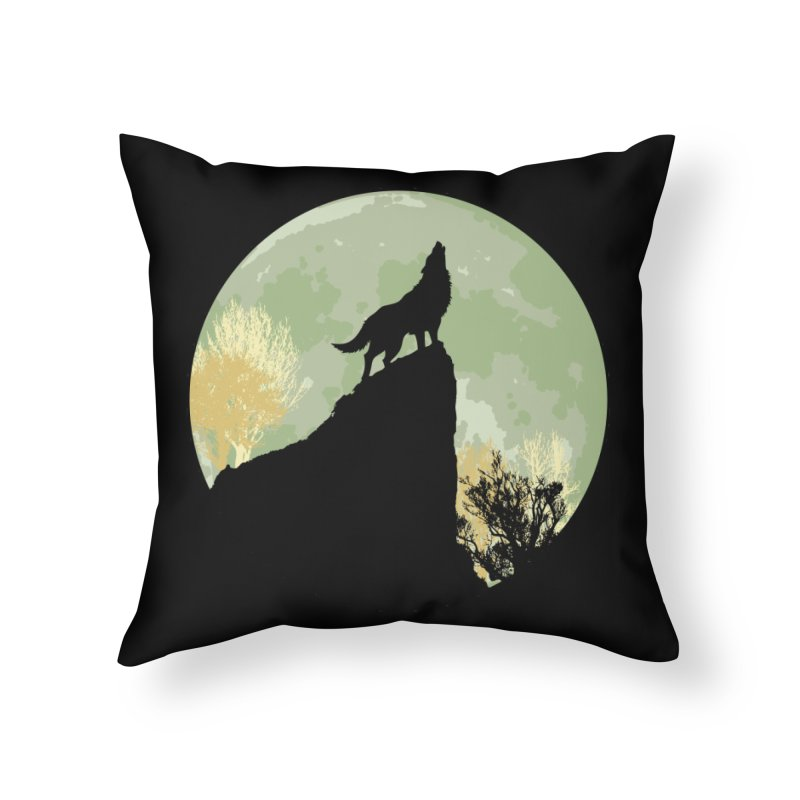 Wolf Howling Home Throw Pillow by Kamonkey's Artist Shop