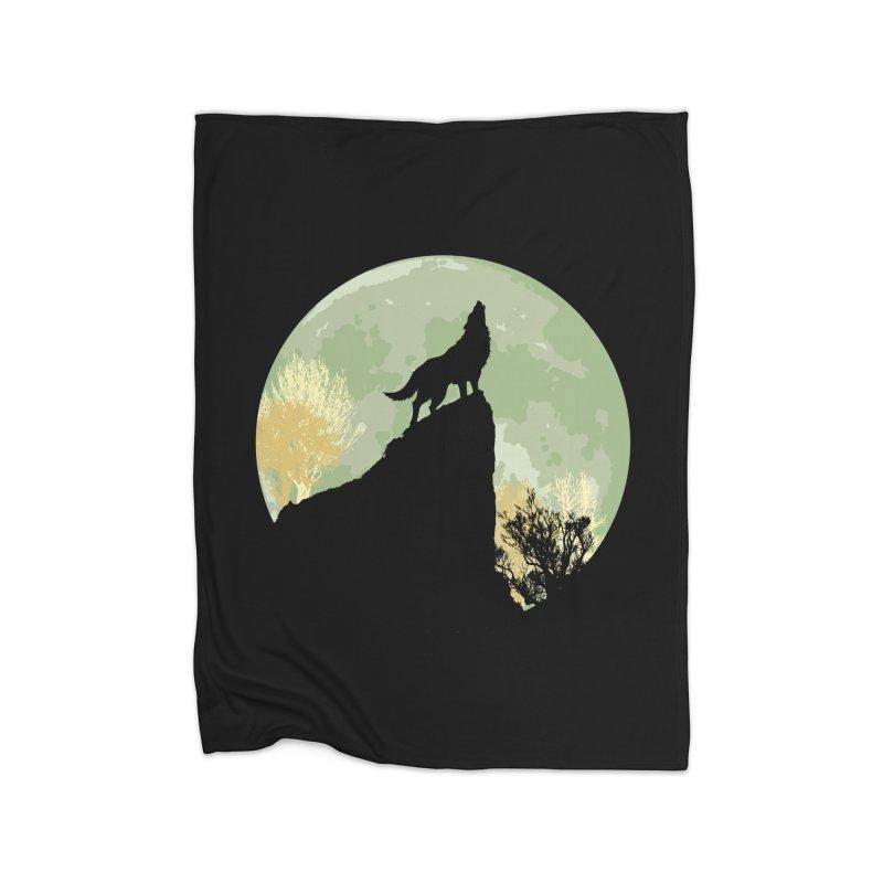 Wolf Howling Home Fleece Blanket Blanket by Kamonkey's Artist Shop