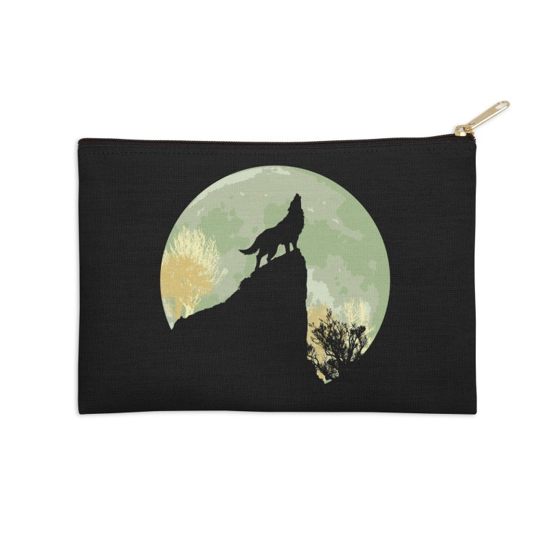 Wolf Howling Accessories Zip Pouch by Kamonkey's Artist Shop