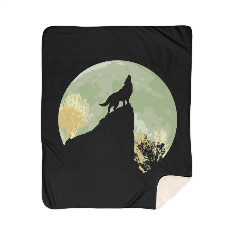 Wolf Howling Home Sherpa Blanket Blanket by Kamonkey's Artist Shop