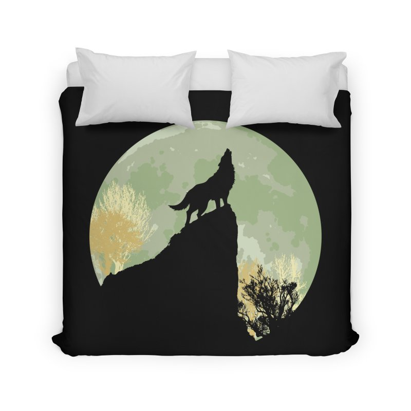 Wolf Howling Home Duvet by Kamonkey's Artist Shop