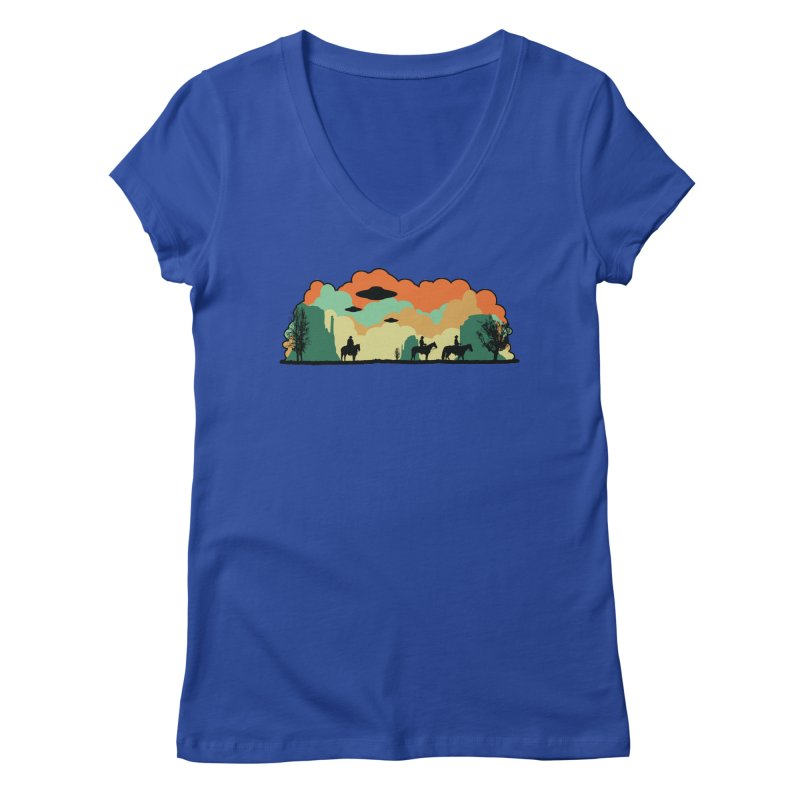 Cowboys & Aliens Women's V-Neck by Kamonkey's Artist Shop