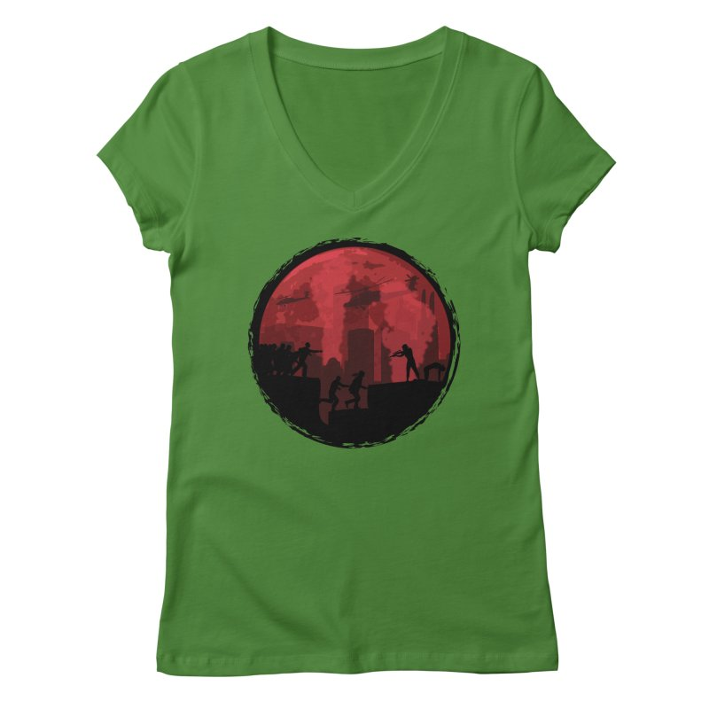 Zombies, Run! Women's Regular V-Neck by Kamonkey's Artist Shop