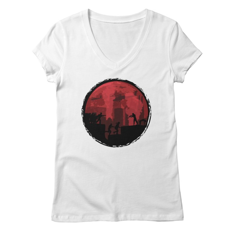 Zombies, Run! Women's V-Neck by Kamonkey's Artist Shop