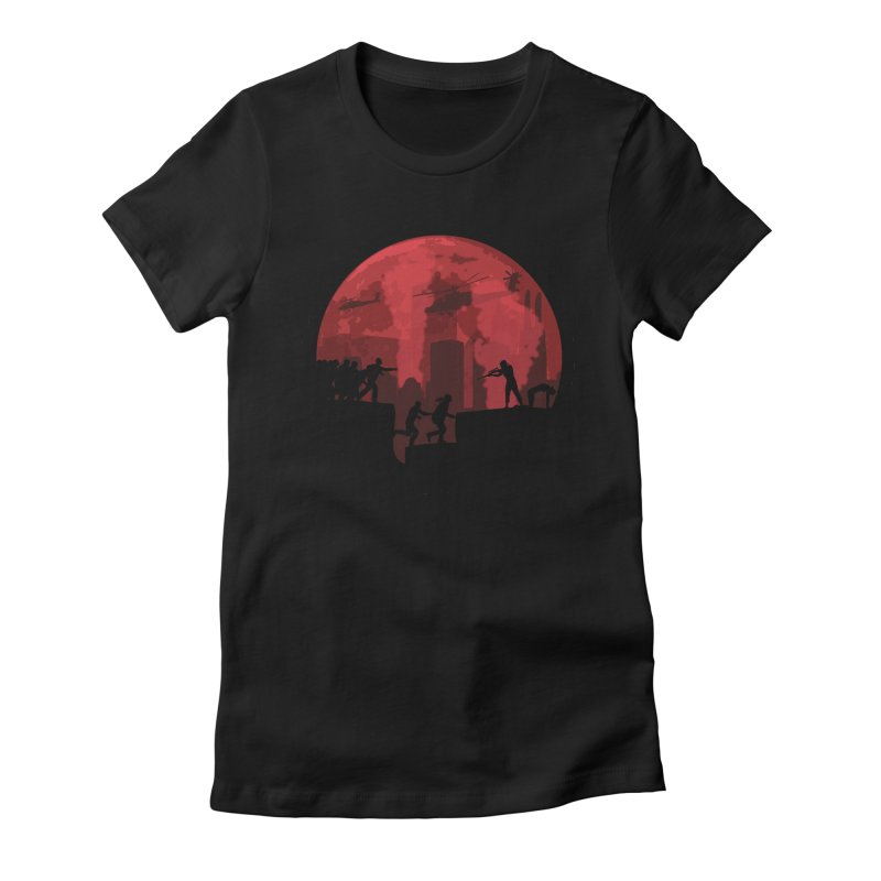 Zombies, Run! Women's Fitted T-Shirt by Kamonkey's Artist Shop
