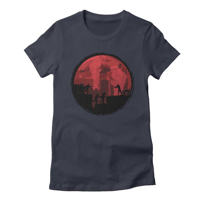 Zombies, Run! Women's Fitted T-Shirt by Kamonkey's Artist Shop