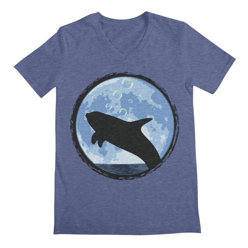Dolphin Moon Men's V-Neck by Kamonkey's Artist Shop