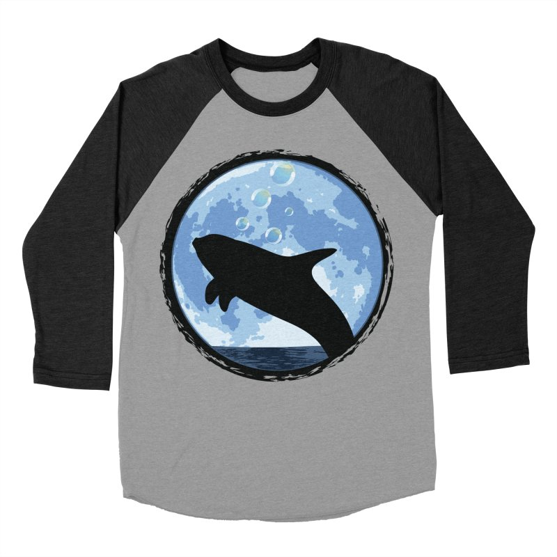 Dolphin Moon Women's Baseball Triblend Longsleeve T-Shirt by Kamonkey's Artist Shop
