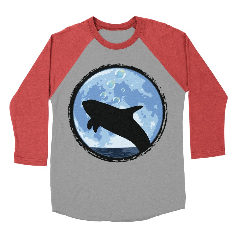 Dolphin Moon Men's Baseball Triblend T-Shirt by Kamonkey's Artist Shop