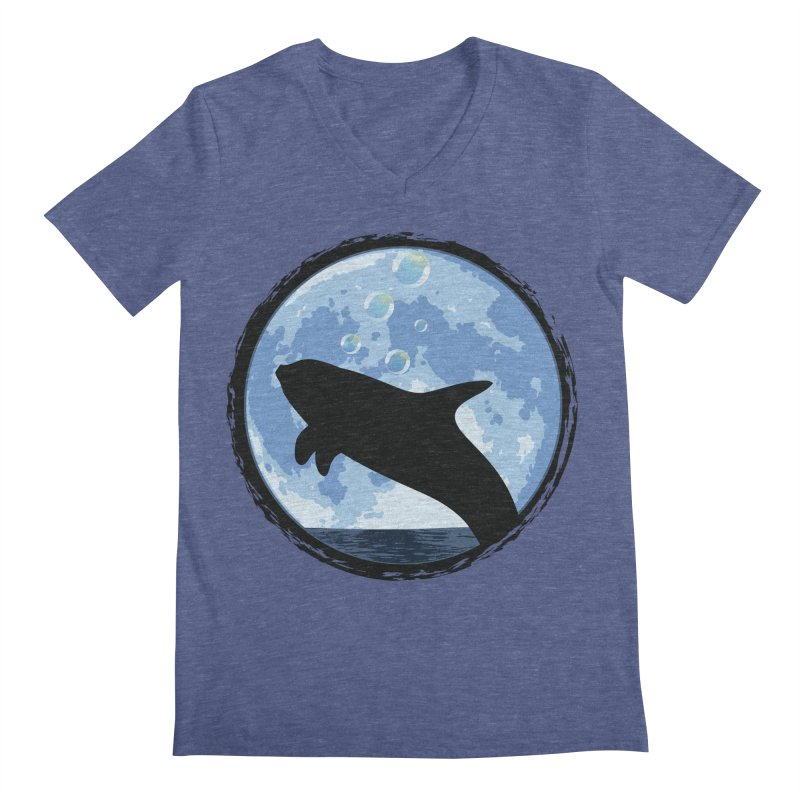 Dolphin Moon Men's V-Neck by Kamonkey's Artist Shop