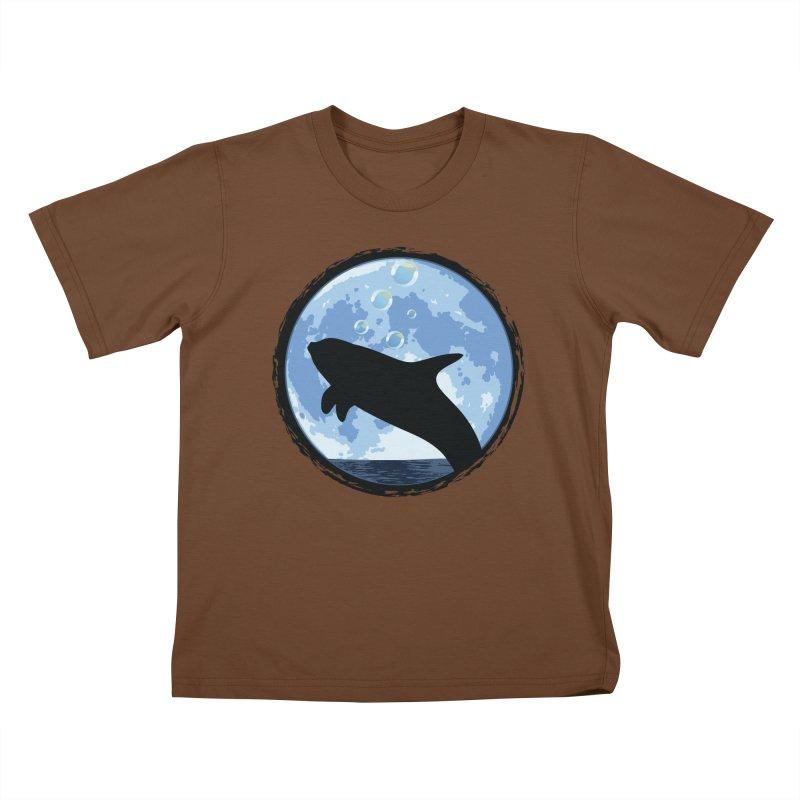 Dolphin Moon Kids T-Shirt by Kamonkey's Artist Shop