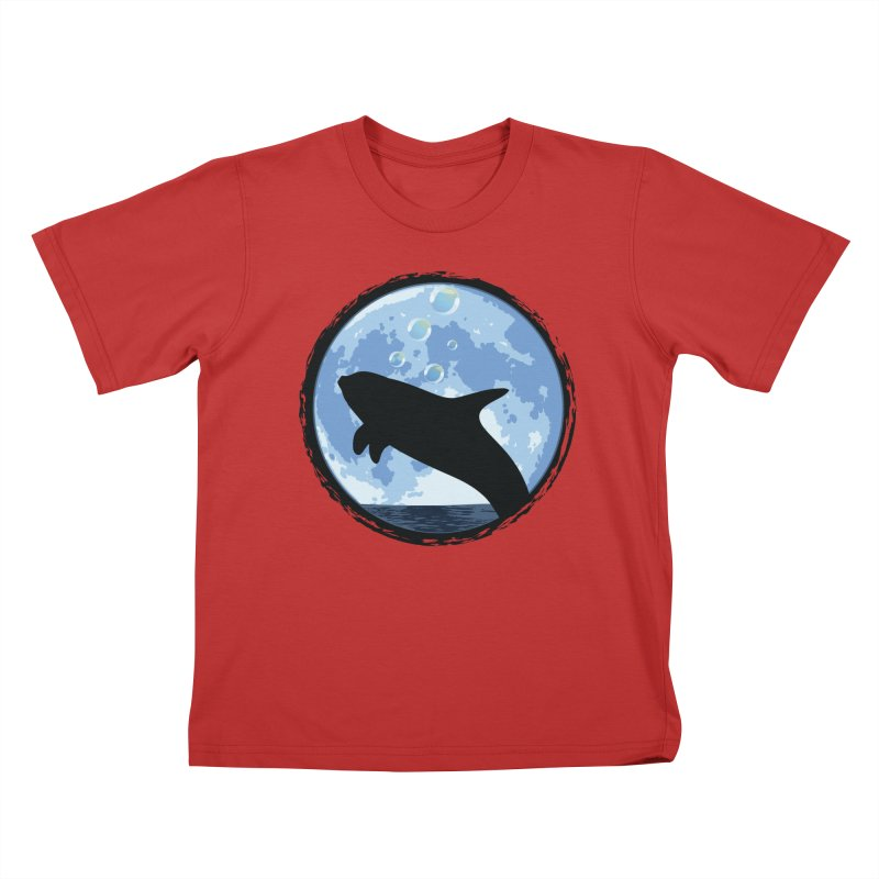 Dolphin Moon Kids T-Shirt by Kamonkey's Artist Shop