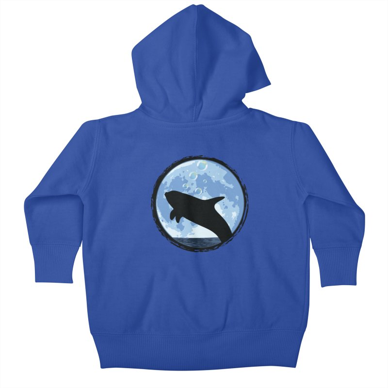 Dolphin Moon Kids Baby Zip-Up Hoody by Kamonkey's Artist Shop