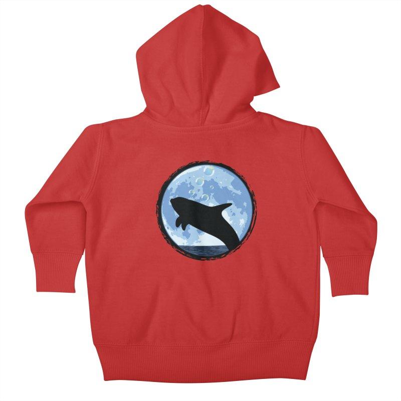 Dolphin Moon Kids Baby Zip-Up Hoody by Kamonkey's Artist Shop
