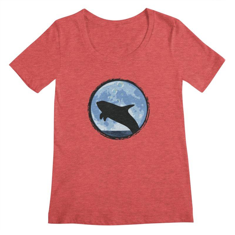 Dolphin Moon Women's Scoopneck by Kamonkey's Artist Shop