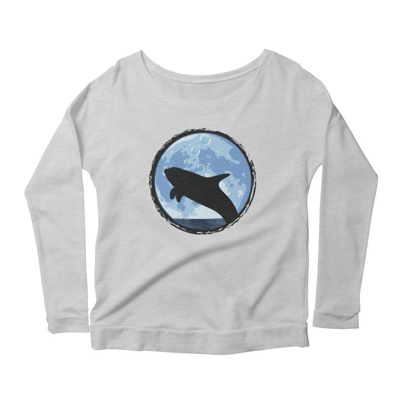 Dolphin Moon Women's Scoop Neck Longsleeve T-Shirt by Kamonkey's Artist Shop