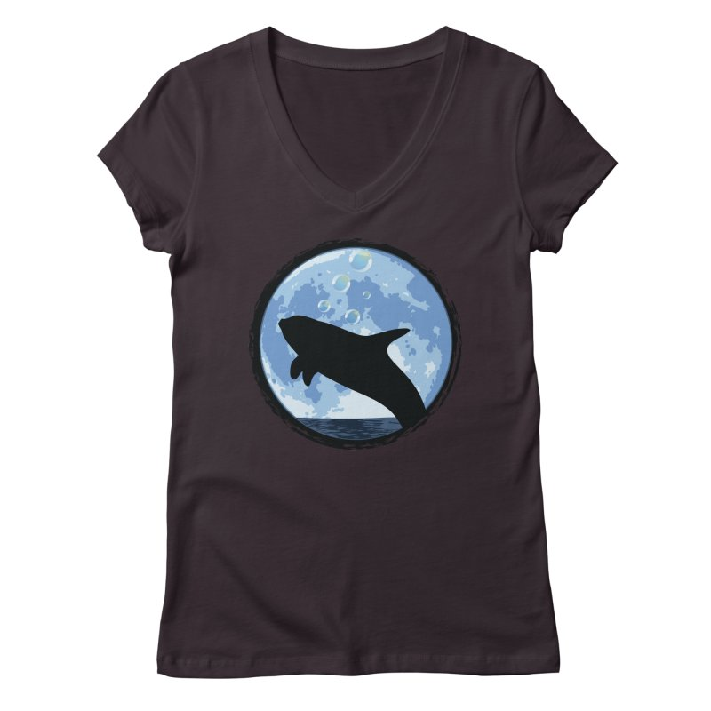 Dolphin Moon Women's V-Neck by Kamonkey's Artist Shop
