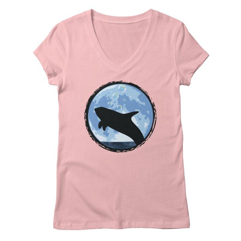 Dolphin Moon Women's V-Neck by Kamonkey's Artist Shop