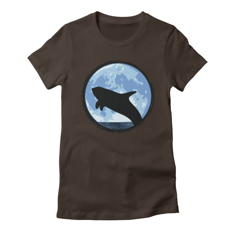 Dolphin Moon Women's Fitted T-Shirt by Kamonkey's Artist Shop