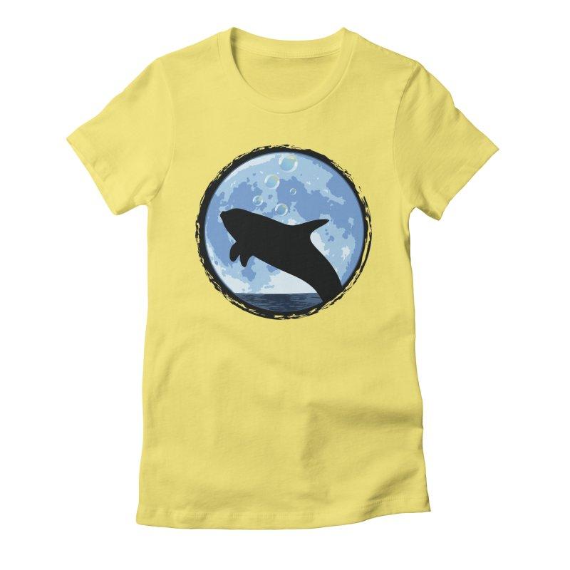 Dolphin Moon Women's Fitted T-Shirt by Kamonkey's Artist Shop